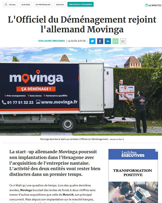 Acquisition Officiel du déménagement par Movinga
